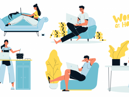 Illustration of workers in hybrid work scenarios, working from home, working from co-working spaces, hotdesking, using laptops and having a coffee