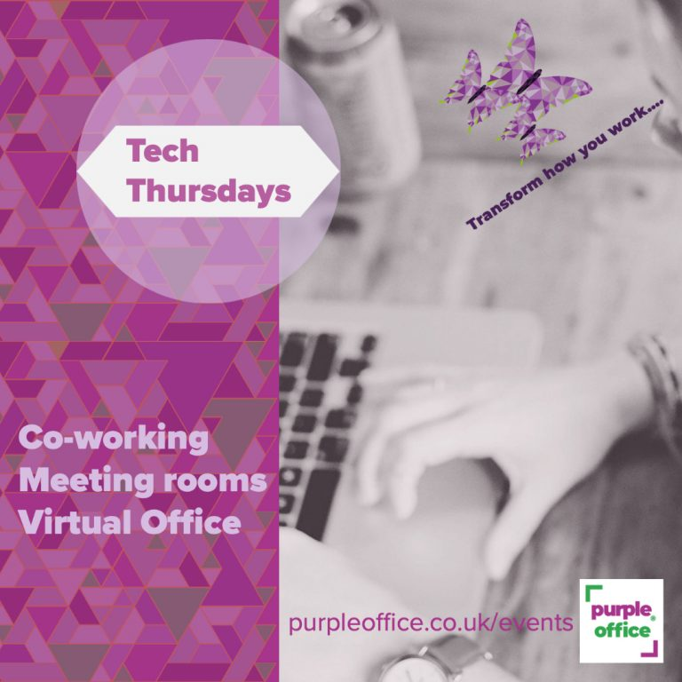 An advert for Tech Thursdays which occur fortnightly at Purple Office and give customers a free 30-minute IT support slot with their hot-desking session